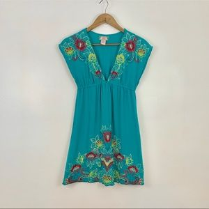 Flying Tomato Turquoise dress with red embroidery